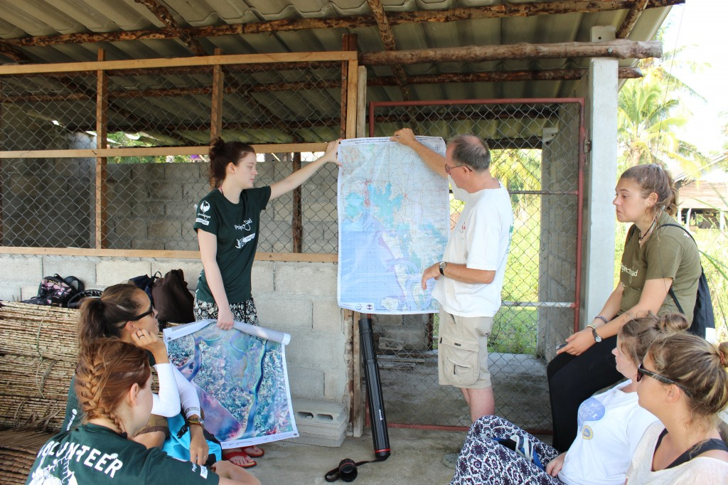 Jim Enright, MAP Asia Coordinator, gives an overview of the EPIC project and points the potential EPIC restoration sites on the map of abandon shrimp ponds.