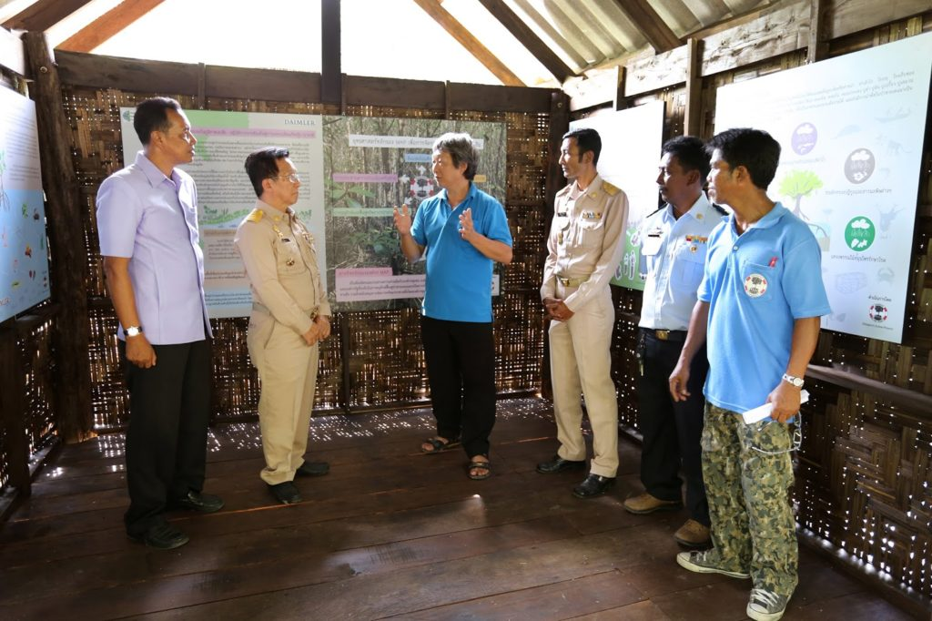 In middle, MAP's Technical Advisor, Mr. Sompoch Nimsantijaroen, explaining the purpose of the learning center to the Government Officials of Phang Nga Province.