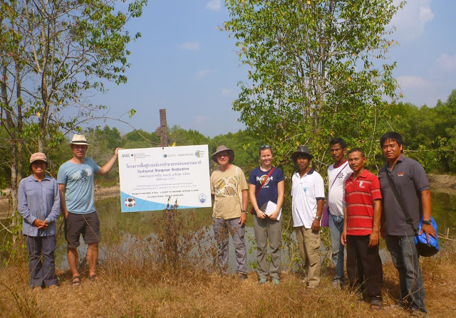 Visiting Ta-Sanook CBEMR restoration site with the village chief and community leaders